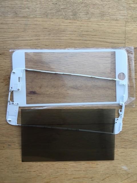 Reparatur-Set in weiß Passend für iPhone 5s mit  Polarizer, Glas / Scheibe, mittleren Rahmen