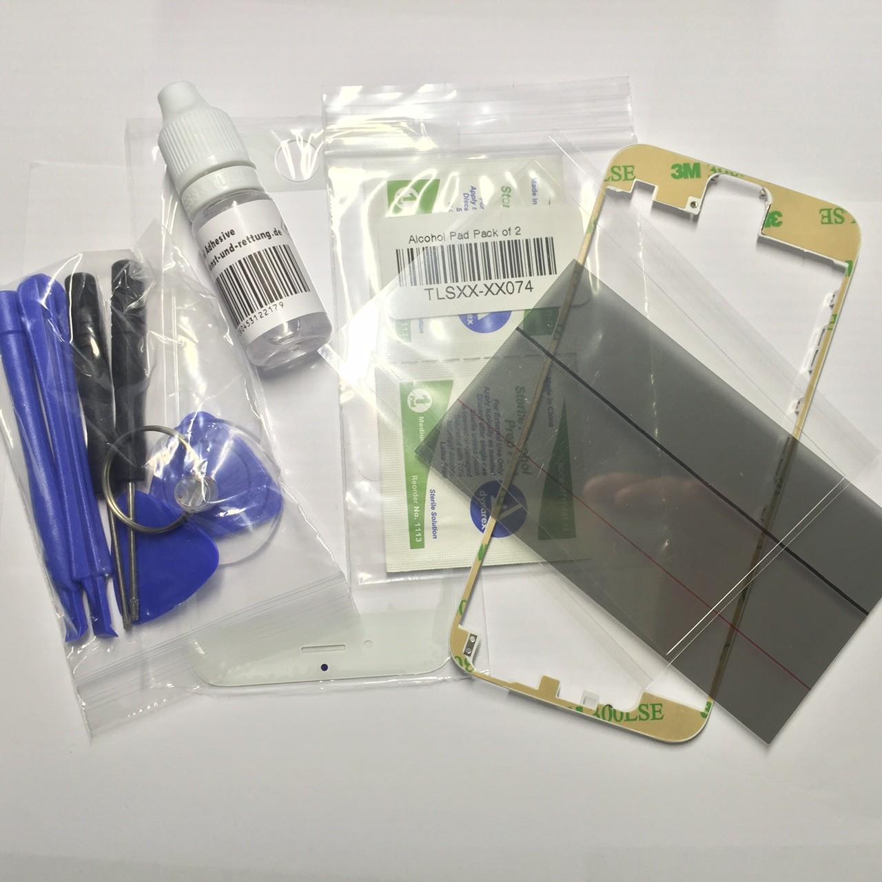 Reparatur-Set passend für iPhone 6 plus in weiß mit  Polarizer, Glas / Scheibe, mittleren Rahmen-ein Set
