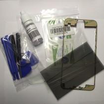 Reparatur-Set passend für iPhone 6 plus in schwarz mit  Polarizer, Glas / Scheibe, mittleren Rahmen-ein Set