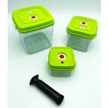 VacuNO.1 Vakuum Behälter-Set - drei Vakuum-Behälter für Lebensmittel inklusive Handpumpe