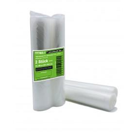 Vakuumbeutel 2 Rollen 20x600 cm für Lebensmittel geprägt goffriert Folienbeutel-Rolle