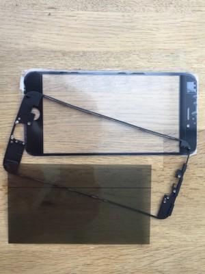 Reparatur-Set Passend für iPhone 6s plus  mit  Polarizer, Glas / Scheibe, mittleren Rahmen-Schwarz-ein Set