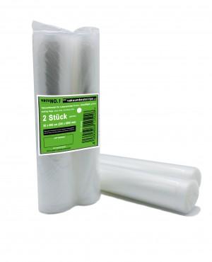 Kochfeste goffrierte Vakuumbeutel - 2 Rollen 20x600 cm - Sous Vide - strukturierte Folien-Beutel - verschiedene Größen